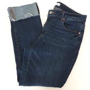 LOFT Modern Cuffed Curvy Straight Raw Hem Jeans